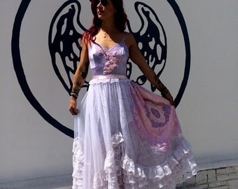 lilac dusty pink & white organza and Ruffles asymmetrical boho wedding dress by mermaid miss Kristin