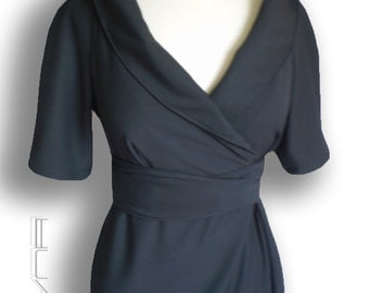 Wrap wool dress in black / Custom made Smart casual Work/ Career Dress for women by FedRaDD