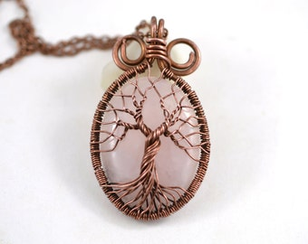 Rose Quartz Necklace Tree-Of-Life Pendant Wire Copper Jewelry Rustic Unisex Boho Amulet Talisman Family Tree Pink Stone Crystal Necklace