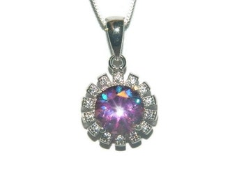Purple Topaz Necklace, Sterling Silver 18 Inch Chain, 8mm  Poignant Bliss Topaz Gemstone