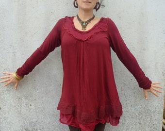 Dress ~ Tunic ~ Nuno felt edged ~ Earthy clothing ~ Elegant dress ~ Natural top