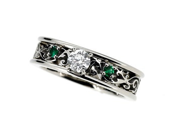 0.25ct Diamond and green diamond filigree engagement ring, diamond ring, white gold, filigree wedding, green engagement, unique engagement
