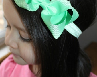 Mint Bow Headband. Baby Headbands. Infant Headbands. Girl Headband. Toddler Headband. Photo Prop.