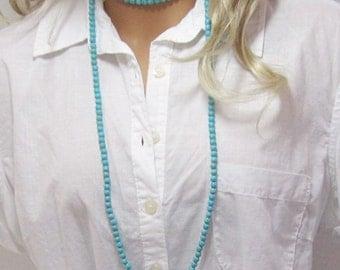 "Extra Long Turquoise Necklace Small Beads Necklace in Photo is 50"" Long"