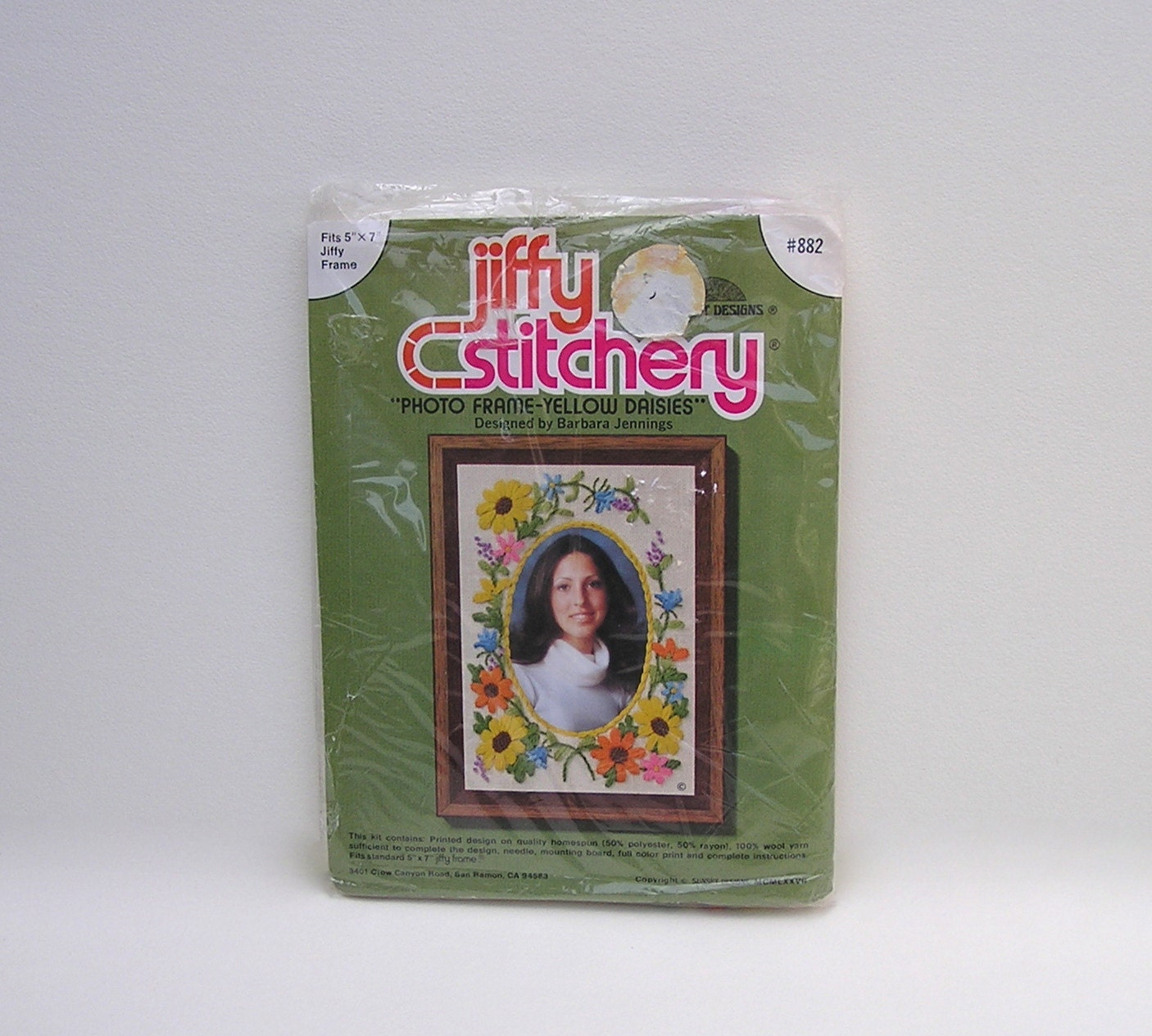 Vintage flower embroidery kit floral photo mat