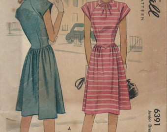 Vintage 1940's Dress Sewing Pattern McCall 6391 Sundress, Casual, Juniors, Small, Petite, Knee Length, Modest