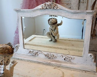 Framed ornate mirror painted white distressed shabby cottage chic large standing mirror embellished w/ roses home decor anita spero design