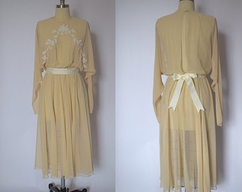1970s Chiffon Wedding Gown with Chenille Embroidery