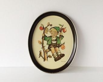 Vintage M. I. Hummel Serving Tray, Oval Metal Tray, Hummel Apple Tree Boy Tray