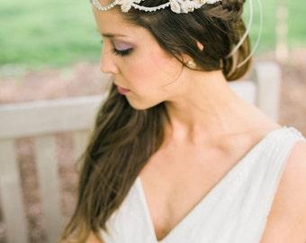 Bridal Headpiece. Blush Crystal Hair Vine. Wedding Headpiece {Elizaveta}