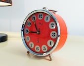 Vintage Alarm Clock Orange color Metal Clock Made in Germany in the 70s, Home Decor, Collectibles Clock