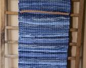 "Hand Woven Table Runner - Denim with Leather-Look Hem 14"" x 42"" - reserved for CA"