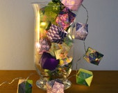 Origami lights with green and purple papers - one-of-a-kind - 20 LEDs
