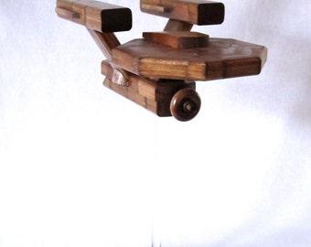 Flying Starship Enterprise Model - Recycled Wood - Star Trek