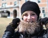 alpaca knit hat with a big pompom recycled fur