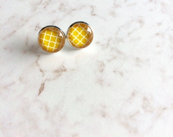 Yellow Patterned Post Earrings