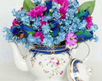 Teapot Silk Flower Arrangement, Small Navy Blue Rosebuds, Blue Baby's Breath, Fuchsia Accent Flowers, White Floral Teapot, Silk Floral Decor