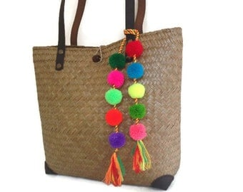 Pom Pom Bag Charm Tassel Bag Charm, BOHO Bag Charm, Pom Pom Purse Charm,Colorful Pom Decor, Unique Fashion Accessories, Trendy, Original
