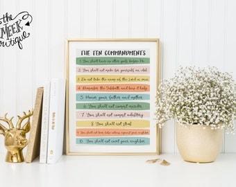 INSTANT DOWNLOAD, The Ten Commandments, Printable, No. 683