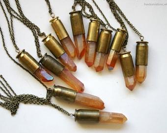Tangerine Aura Quartz Bullet Crystal Necklace
