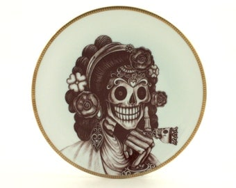 Sugar Skull Altered Vintage Porcelain Plate Ring Day of the Dead Mexico Halloween Calavera Dios de los Muertos Wa
