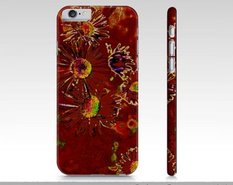 Artsy Red Fire Flower iPhone Cases, Floral Red iPhone 6 Art Cases iPhone 6, Artsy Red iPhone 6 Case, Phone Case, Hard Protective Slim Case