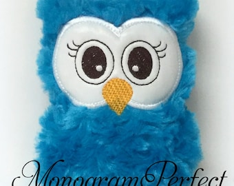 Ready to Ship---Dark Teal Plush Mini Owl Rattle -NOT PERSONALIZED