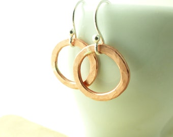Hammered Copper Circle - Copper Drop Earrings - Valentine Gift for Her - Modern Minimal Earrings - Dangle Earrings