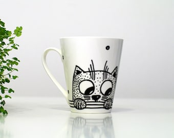Cat cup Black and white hand painted cup Coffee mug kids Cat tea cup Porcelain teacup cat Coffee cup animal Funny Pet portrait Painted cup
