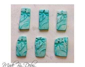 Polymer Clay Pendant Dragonfly Freeform Rectangle Design Choice of 6 Styles Aqua Bead Series (1)