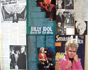 BILLY IDOL ~ White Wedding, Rebel Yell, Eyes Without A Face, Generation X ~ Color and B&W Clippings, Articles from 1984-1987