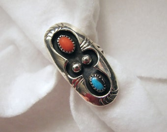 Vintage NAVAJO Phillip White SHADOWBOX Ring -- Sterling with Coral and Turquoise, Size 7-3/4, 9.2g, Excellent Condition and Color