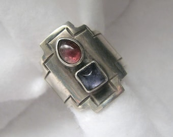 Vintage CROSS Ring -- Sterling Silver with Pink/Purple Tourmaline Cabochons, 5.7g, Size 8-1/2, Beautiful Color, Excellent Condition