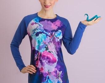 Crystal dragonfly - Sweatshirt dress/ Womens dress/ Short dress