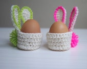 Crochet PATTERN, Easter bunny egg cozy basket, kids, home decor, decoration,  DIY photo tutorial ,  Instant download