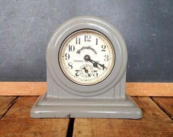 Antique Alarm Clock, Working Condition, Dark Gray Westinghouse Range Clock, Cast Iron Clock with Gray Paint