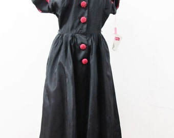 1950s Deadstock Minx Modes Junior Taffeta Dress with Exaggerated Sleeves