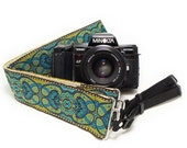 Hemp Camera Strap - Teal Paisleys Woven Ribbon on Organic Hemp Webbing and Webbing ends - works with DSLR, SLR and Manual Cameras