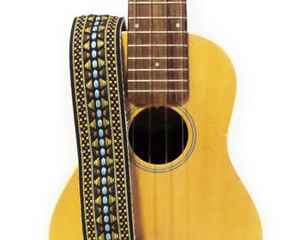 Hemp Mandolin Strap or Ukulele Strap - Colorful Chevrons Woven Ribbon on Organic Hemp Webbing and Leather Ends - 1 or 2 peg, A or F Style