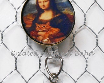 ID Badge Reel -Funny Mona Lisa Portrait - Retractable ID Badge Holder - ID Badge Holder - Id Badge Reel Lanyard - Badge Reel