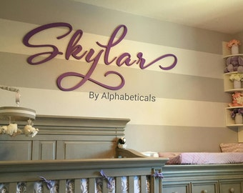 Wooden Letters for Nursery Wall Decor Wall Signs Cursive Wall Hanging Letters Baby Girl Name Large Script Wall Art Alphabeticals