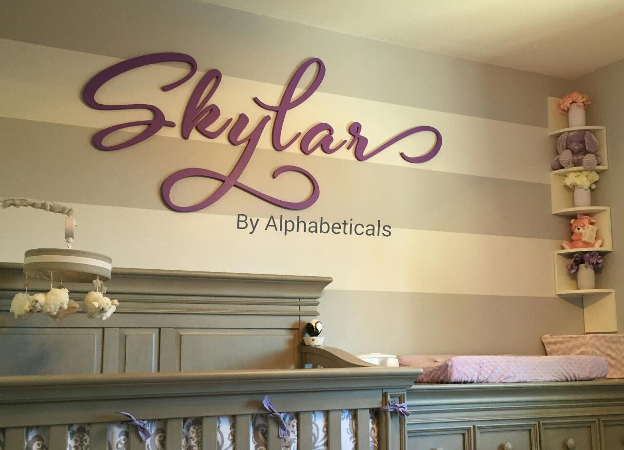 Wooden Letters For Nursery Wall Decor Wall Signs Cursive Wall