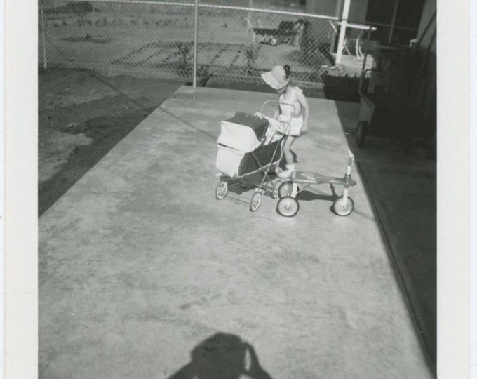 Girl in Bonnet; Tricycle & Baby Carriage, Photographer Shadow 1961 Vintage Snapshot Photo (61445)