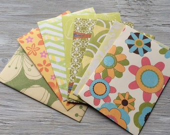 Handemade stationery - handmade note cards set of 8 patterned envelopes and solid cards