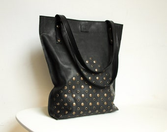 Leather tote bag, Studded shopping bag, Black bag