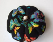 Pincushion BUTTERFLY fabric - Great for a sewing gift. Double Sided butterflies. Round Pincushion. gold accents. Black pale Blue pins holder