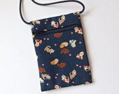 """CATS Pouch Zip Bag NAVY BLUE Japanese Fabric. Cell Phone Pouch. Tiny cats. Walkers, markets, travel bag. small fabric cat purse. 6.5"""" x 4.5"""""""