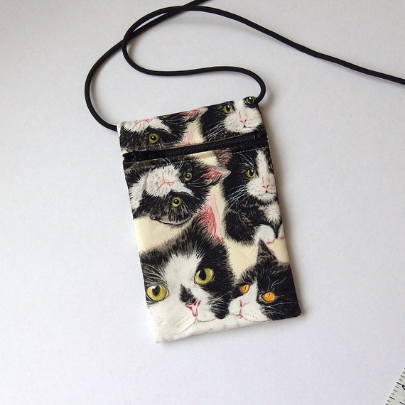 Pouch Zip Bag Tuxedo Cat Fabric Great For Walkers By Vinocatz