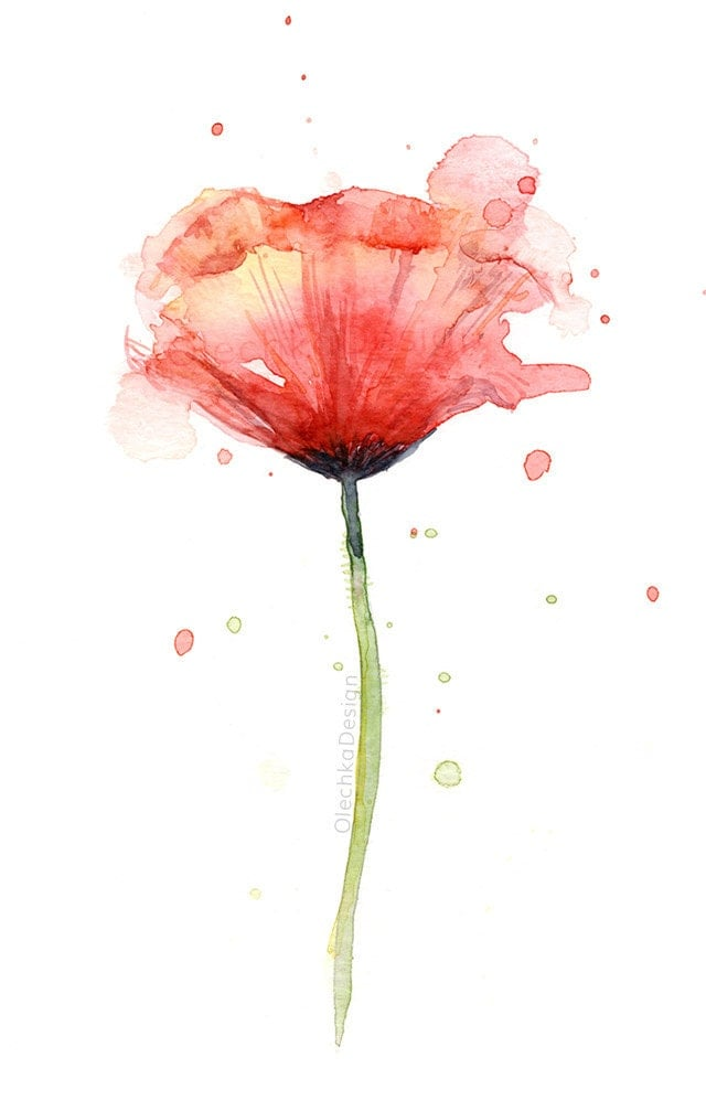 Red Poppy Watercolor Flower Art Print Poppies Atmospheric