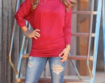 Best Selling Red Dolman Tunic Top Long Sleeve/Women